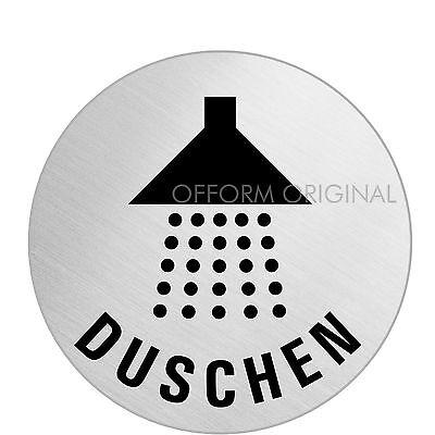 """OFFORM Edelstahl Türschild Schild  Ø 75mm"""" Dusche Duschen Bad WC"""" Nr.39249"""