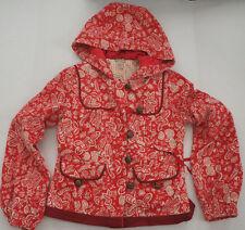 Anthropologie ELEVENSES Red Floral Corduroy Boho Jacket Red Hooded Coat - Size 6