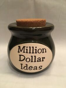 Million Dollar Ideas Pottery Cork Money Jar Bank Boss Employee Green Brown Ebay