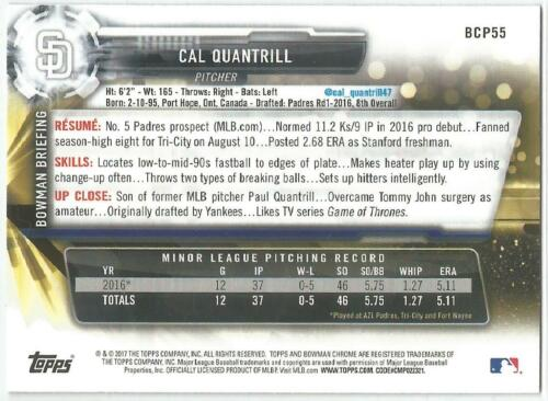 Cal Quantrill San Diego Padres 2017 Bowman Chrome Baseball