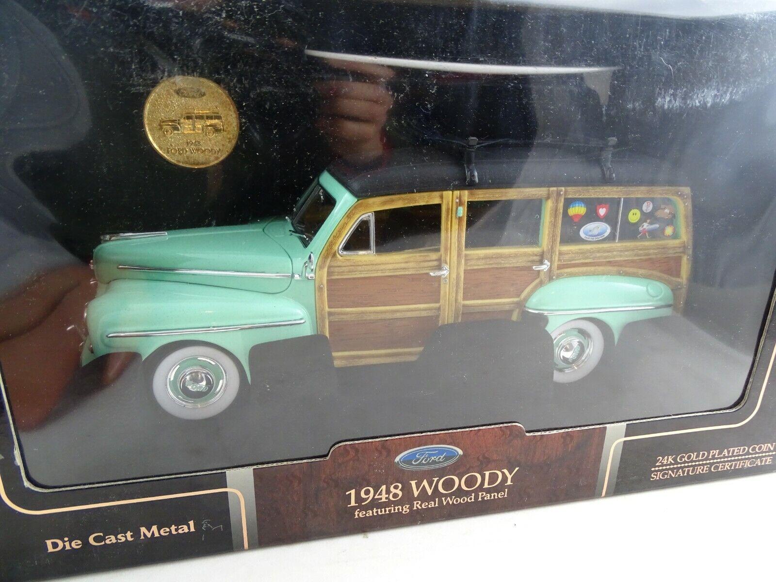 1 18 Road Signature  20028 1948 Woody con 24k oro Coin Turchese-rarità §
