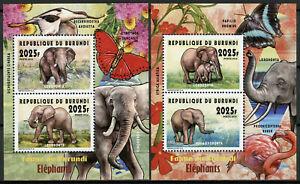 Burundi-2014-MNH-Fauna-Elephants-Loxodonta-2x-2v-Deluxe-M-S-Wild-Animals-Stamps