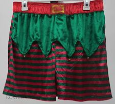 Mad Engine Santa Elf Men's Boxers with Jingle Bells & Gift Bag Size Medium 32-34