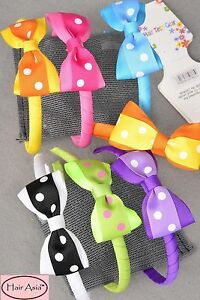 Lot-of-40-cute-grosgrain-ribbon-headbands-with-bows-assorted-colors