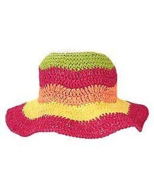 GYMBOREE CITRUS COOLER COLORBLOCK STRIPE STRAW SUN HAT 0 12 24 2T 3T NWT