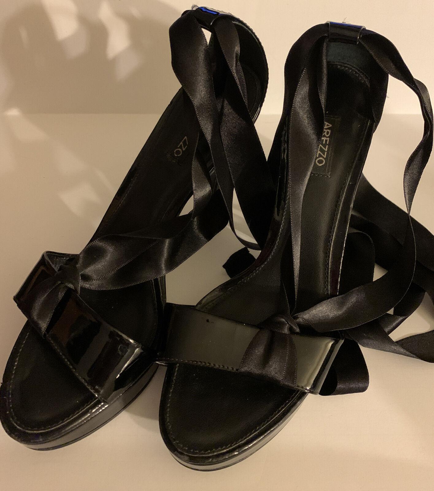 Arezzo Women's Black Patent Leather Heels With Wrap Around Ribbon 7B