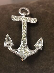 Vintage-Jewelry-Nautical-Anchor-Clear-Rhinestone-Brooch-Pin