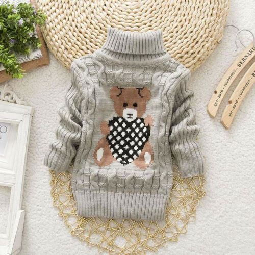 Toddler Kids Baby Girls Boy Bear Print Sweater Knit Crochet Tops Outfits Clothes