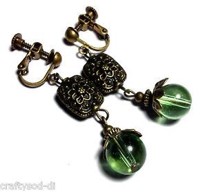 Clip-On-Earrings-Green-Glass-Bead-Long-Drop-Dangle-Antique-Vintage-Style-Bronze