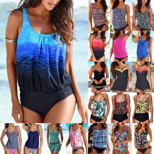 Damen Sports Tankini Set Push Up Bikini Badeanzug Bademode Schwimmanzug GR.32-48
