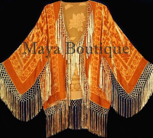 Orange Kimono Silk Burnout Velvet Fringe Jacket Short Maya Matazaro