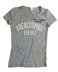 Abercrombie-amp-Fitch-Women-039-s-T-Shirt-Grey-XS-Crew-Cotton-Blend-Marks