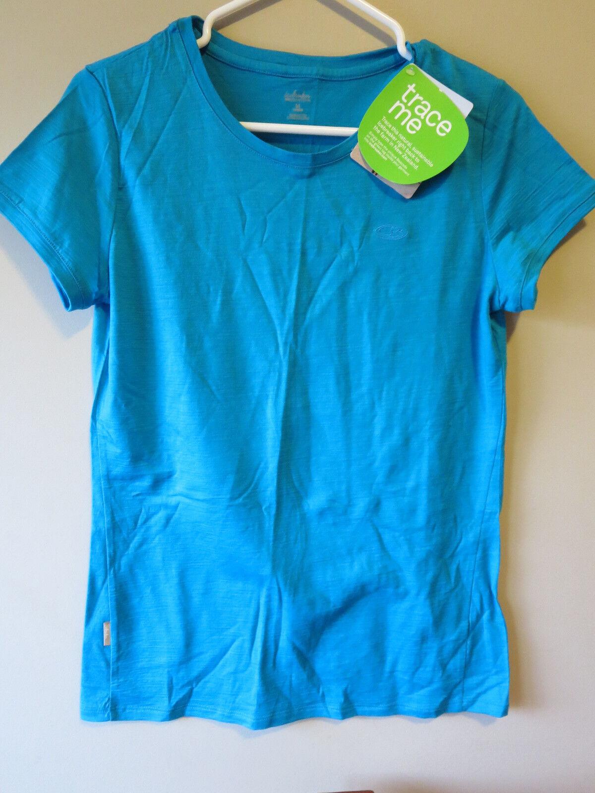 Womens New Icebreaker Tech T Lite SS Shirt Size Medium color bluee