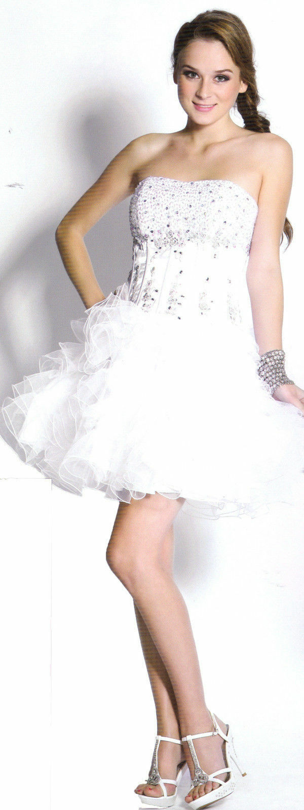 White Short Sweet 16 Dance Ball Gown Dress Party Prom Pageant Gala Evening SZ 16