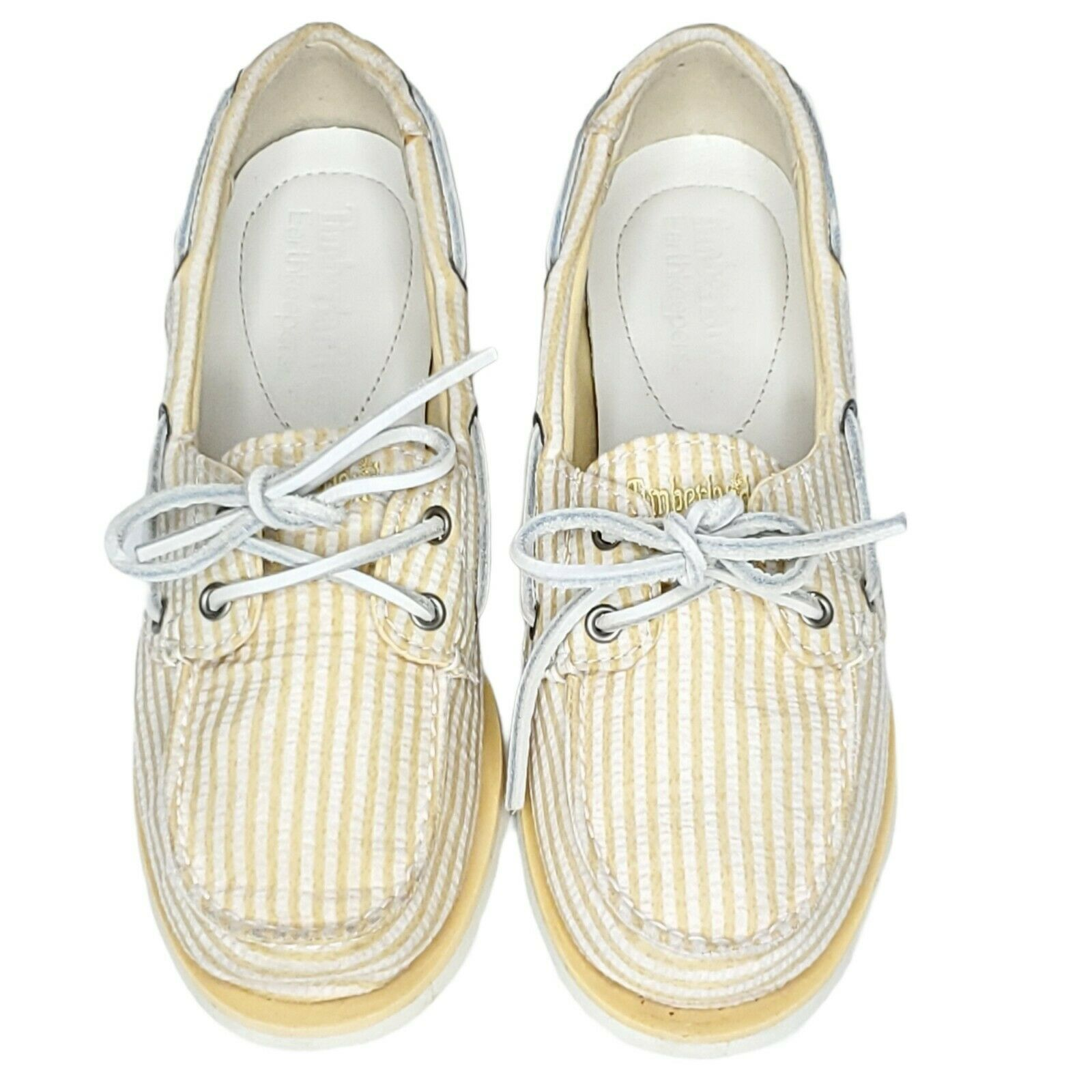 Timberland Earthkeepers Yellow Striped Deck Boat 2 Eye Shoes Women's 7