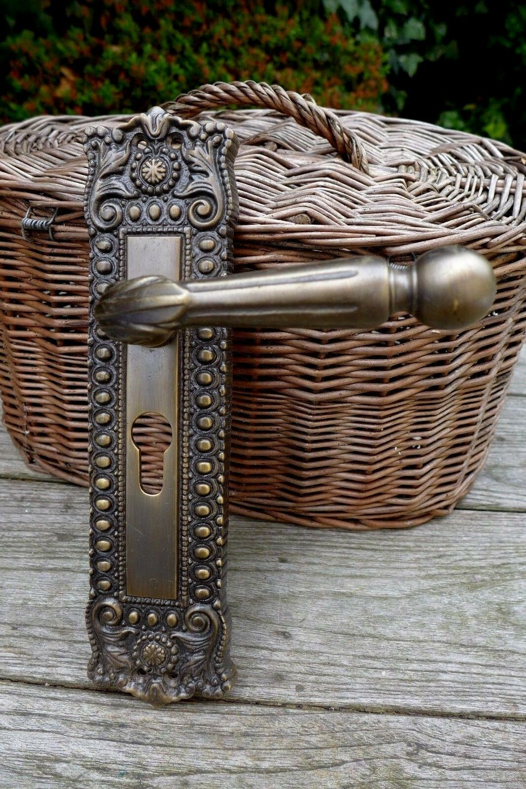 Solid Brass Decorative Large Door Handle with Decorative Cover Project 27-03
