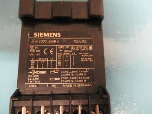 SIEMENS CONTACTOR 3TF2222-0BB4 24V COIL 16A A AMP 600Vac 3TF22220BB4 w// 26 034