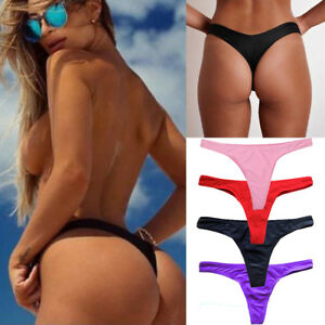 679b549bd57 Brazilian Women Bikini Bottoms T-back Thong G-String Swimwear ...