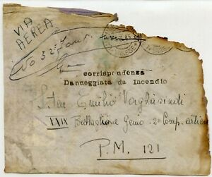 ITALY-1943-Badly-burnt-airmail-Forces-034-corrispondenza-danneggiata-da-Incendio-034