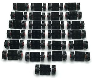 LEGO LOT OF 25 BLACK AND RED  WHEEL AND TIRE ASSEMBLY CAR PARTS PIECES