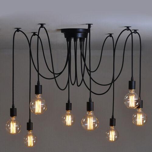UK Retro Vintage Chandelier Ceiling Spider Light Industrial Pendant DIY Lamp E27