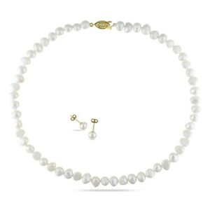 Yellow plated Freshwater Pearl Necklace and Stud Earrings Set 7.5-8 mm