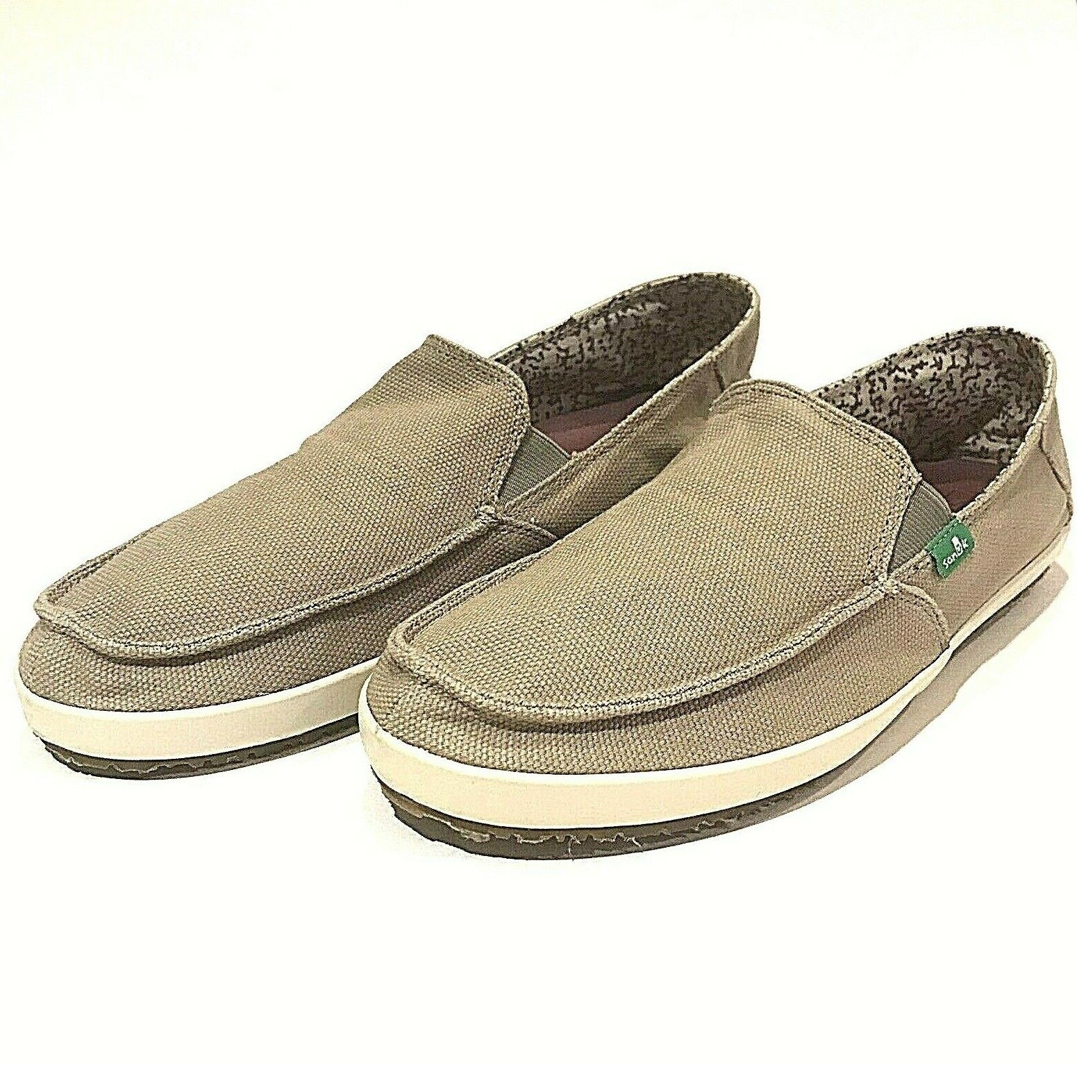 Sanuk shoes Casual Beige Slip-On Fabric Mens Size US 9 EUR 42 UK 8
