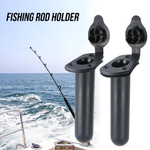 2Pcs Flush Mount Fishing Boat Rod Holder Bracket With Cap Cover Kayak Box U8E7