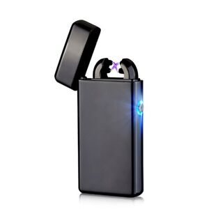 USB-Electric-Dual-Arc-Black-Metal-Flameless-Torch-Rechargeable-Windproof-Lighter