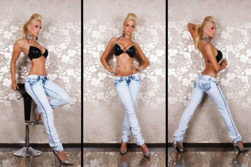 Women/'s Skinny Jeans Light Blue Wash Embroidery Jeans Size U.K 6-14 HOT