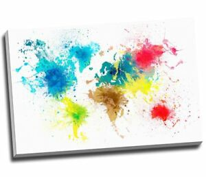 Details about Paint Splash Map Of The World Canvas Print Wall Art 30x20\