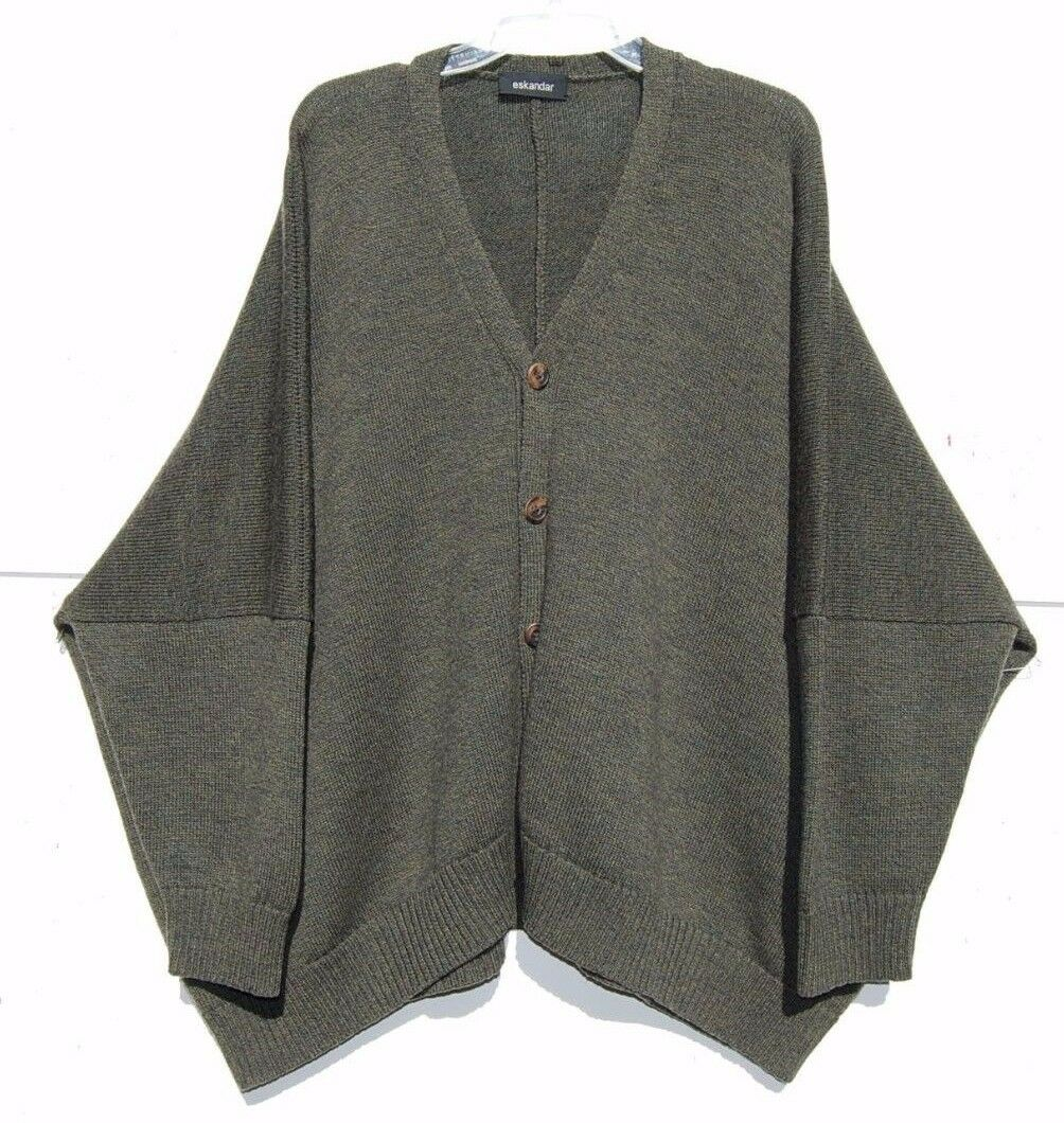 Eskandar OLIVE Handloomed HeavyWeight Merino 27  Long Cardigan Sweater O S
