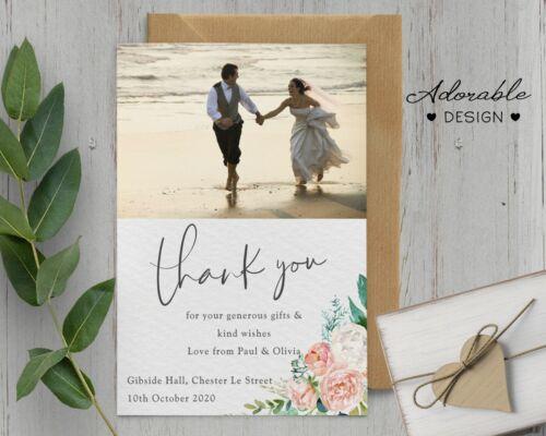 Photo Personalised Wedding Thank You cards inc Envelopes