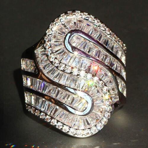 Women 925 Sterling Silver Wedding White Topaz Ring Men/'s Jewelry Bridal Gift CA