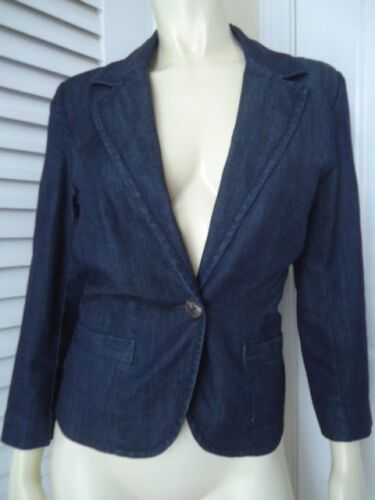 Sfoderato Cotton Blazer Sz Button 99 Stretch Front Wash One Denim Dark Level M wqXant7