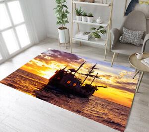Floor Rug Mat Sunset Beach Sea Wave Stone Bedroom Carpet Living Room Area Rugs
