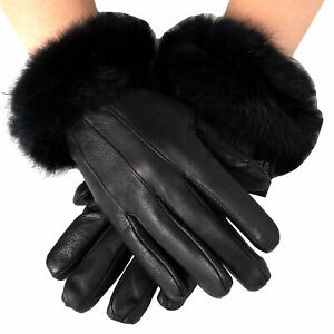Alpine-Swiss-Womens-Dressy-Gloves-Genuine-Leather-Thermal-Lining-Fur-Trim-Cuff