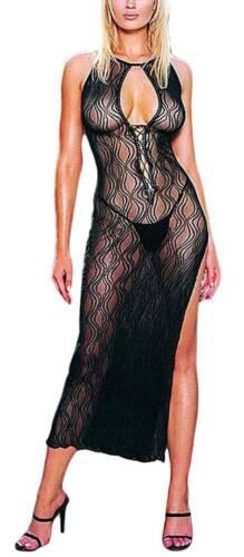 Hochgeschlitztes langes Negligé Kleid schwarz