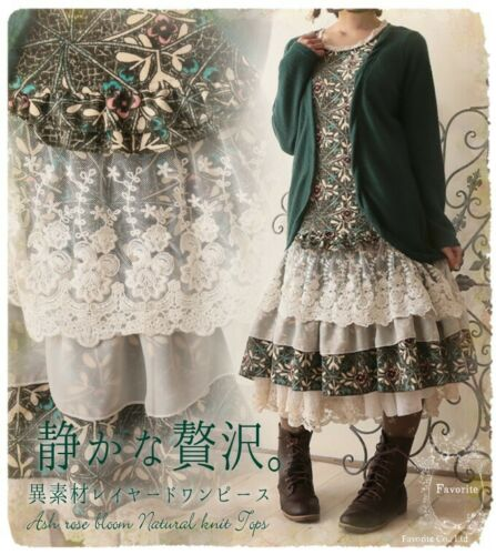 Sweet Lolita Women/'s Vintage Lace Floral Dress Mori Girl Long Sleeve Cotton