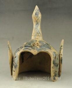 Rare-china-Old-Jade-Carving-Dynasty-Palace-General-Warrior-Helmet-Hat-Cap-i02