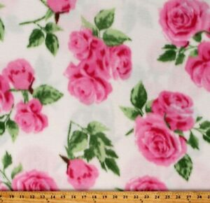 Fleece-Roses-Pink-Flowers-Floral-on-Off-White-Fleece-Fabric-Print-BTY-A222-05