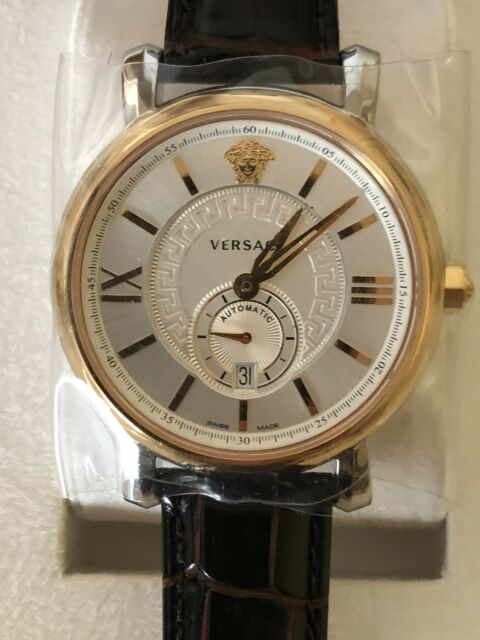 2202a3e3e Versace Men's VNA020014 Urban Gent Gold Ion-plated Automatic Watch With Black  Leather Band