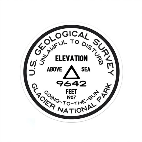 Glacier National Park StickerGoing To The Sun USGS Benchmark Survey Sticker