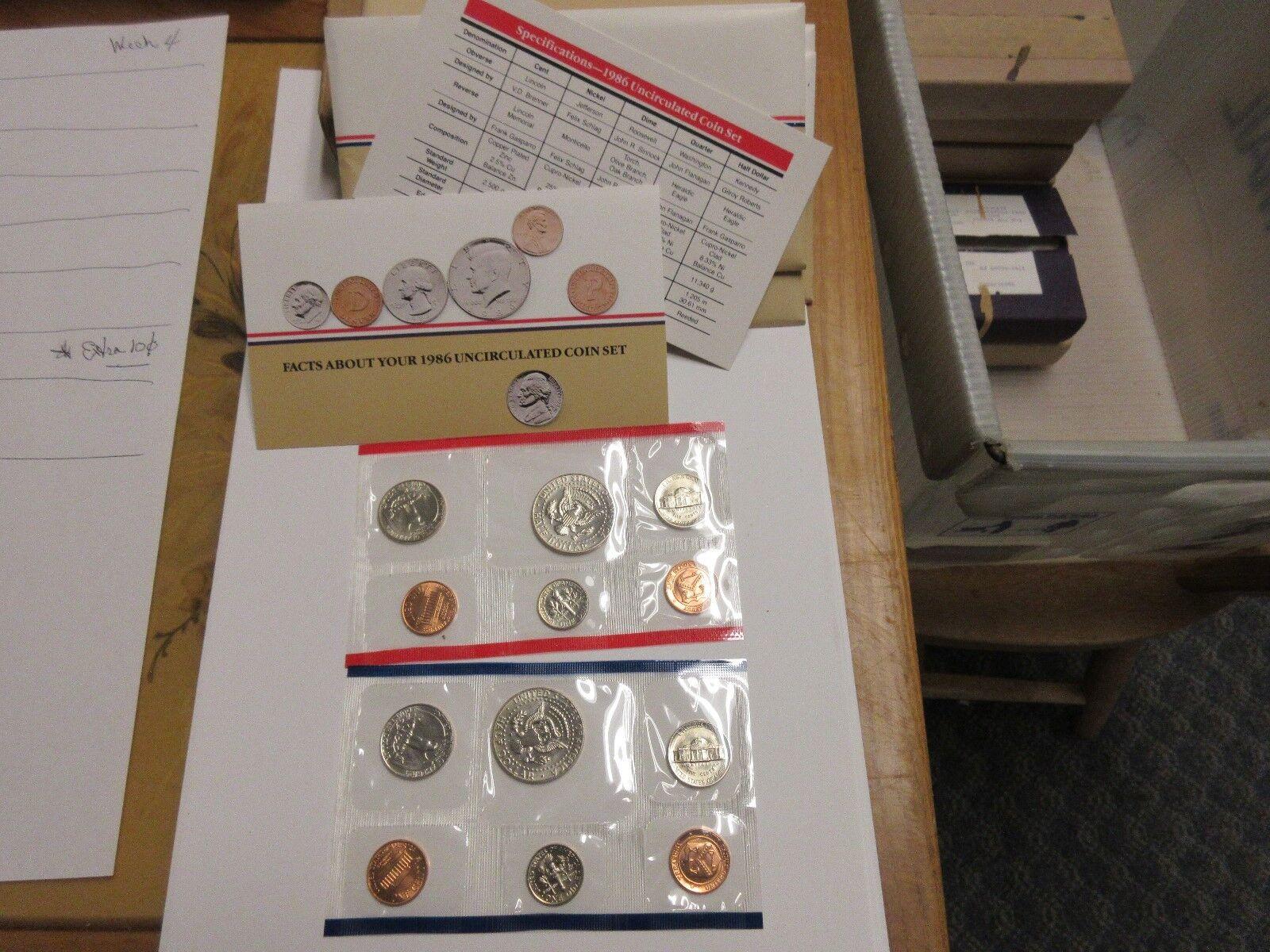 1986 , United States Mint , Uncirculated Mint Set , Lot