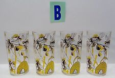 "4 Vintage Sue Bee Honey Glass Tumblers 5"" Yellow HONEY Queen Bees LOT B"
