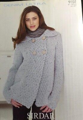 """9102 Sirdar Knitting Pattern: Ladies Cardigan//Jacket 32-42/"""" Super Chunky"""