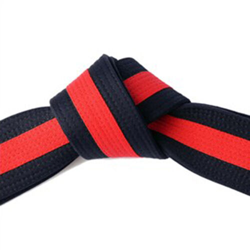"""2/"""" Black Master Belt with Red Stripe Double Wrap Sizing Taekwondo//Karate//Judo"""