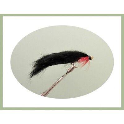 6 Size 8 Hot Head Black Cat Zonker Trout Flies Lures