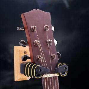 Guitar Hanger Wall Mount Stand Auto Lock Tabs Solid Wood Base Bracket Hook PF