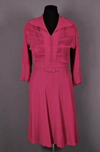 VTG Women's 40s Pink / Magenta Shirtwaist Style Ra